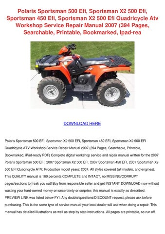 Polaris sportsman 500 efi sportsman x2 500 ef by chloebouchard issuu polaris sportsman 500 efi sportsman x2 500 efi sportsman 450 efi sportsman x2 500 efi quadricycle atv workshop service repair manual 2007 394 pages sciox Choice Image