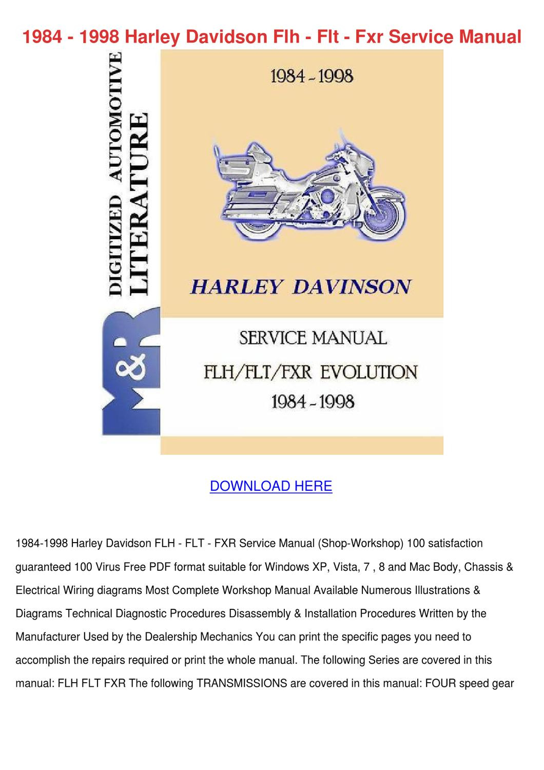 1984 1998 Harley Davidson Flh Flt Fxr Service by ... Harley Davidson Wiring Diagram Manual on