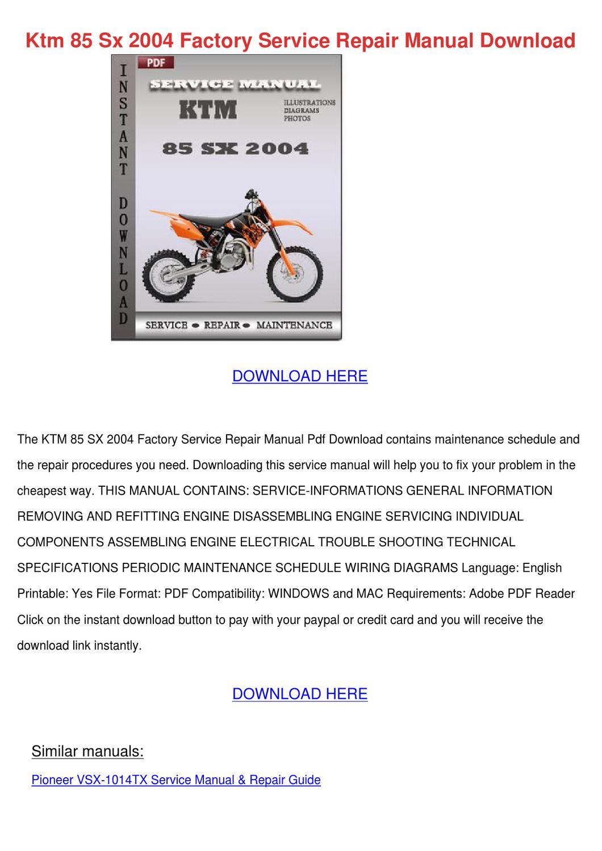 ktm 85 sx 2004 factory service repair manual