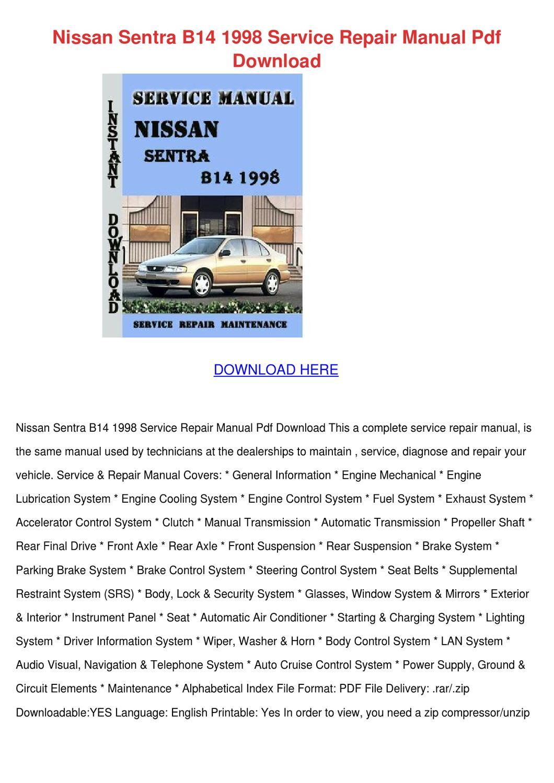 Nissan Sentra B14 1998 Service Repair Manual by MacLombardi - issuu