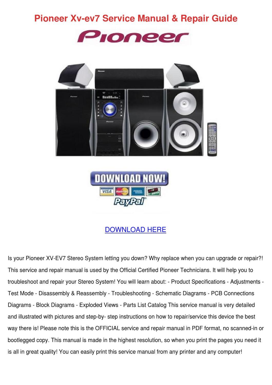 Pioneer Xv Ev7 Service Manual Repair Guide by RetaLyman - issuu
