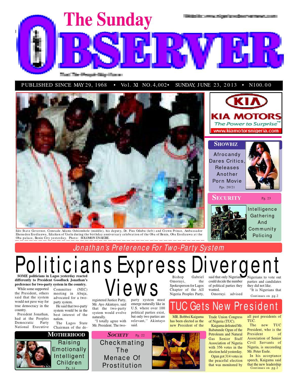 Sunday observer 23 06 2013 by Nigerian Observer - issuu