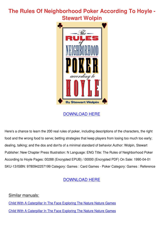 Pdf poker rules