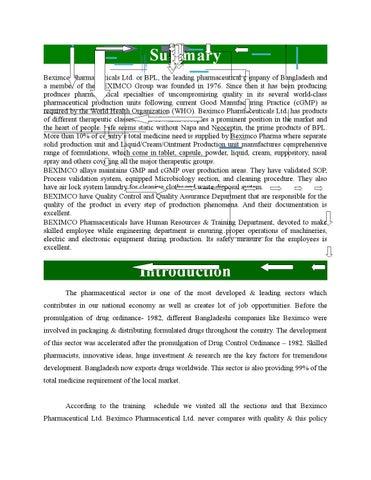 inplant training report on eskayef bangladesh limited Current responsibilities general manager, international regulatory affairs head of qa division ii past responsibilities head of validation, renata limited (2010-2013) head of qa, potent product facility, renata limited (2008-till date) education mba, iba, dhaka university.