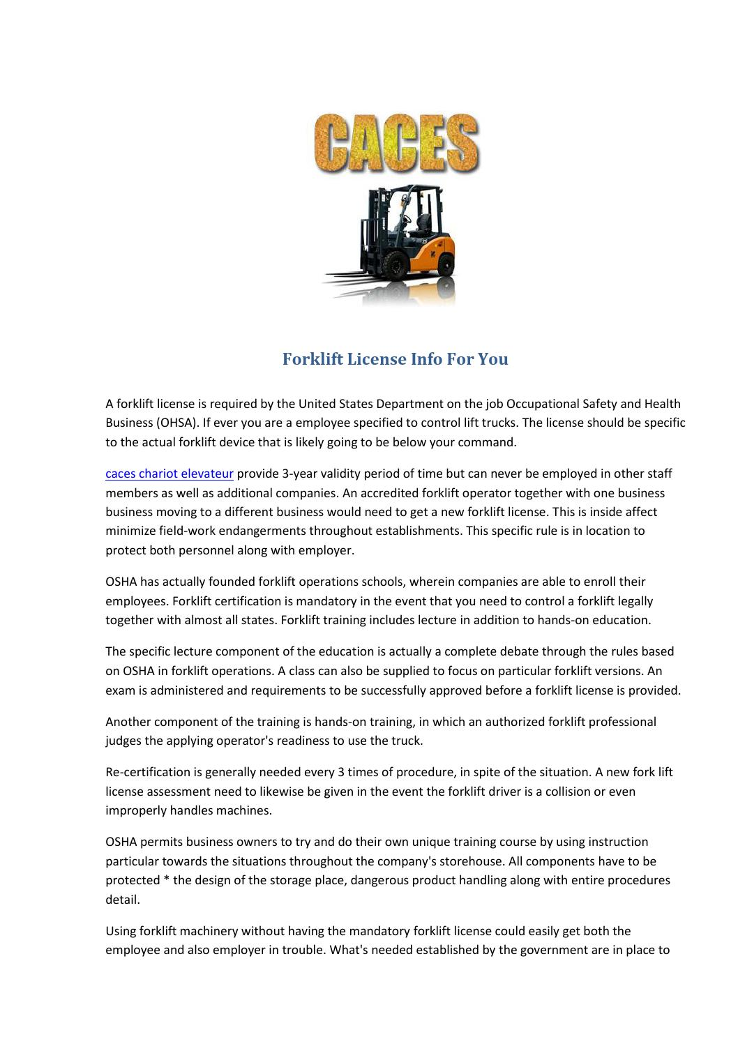 Forklift License Info For You By Sunny Team Issuu