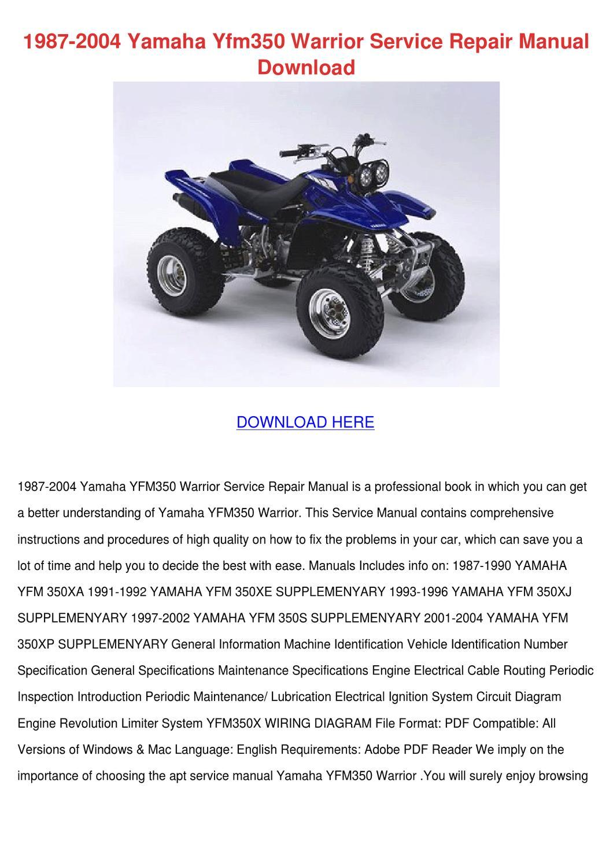1987 2004 Yamaha Yfm350 Warrior Service Repai By