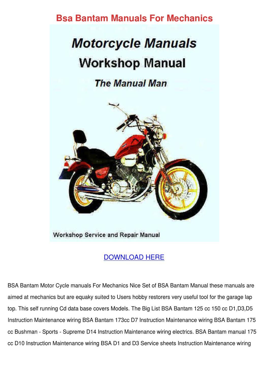 Bsa Bantam Manuals For Mechanics By Aliciawaggoner