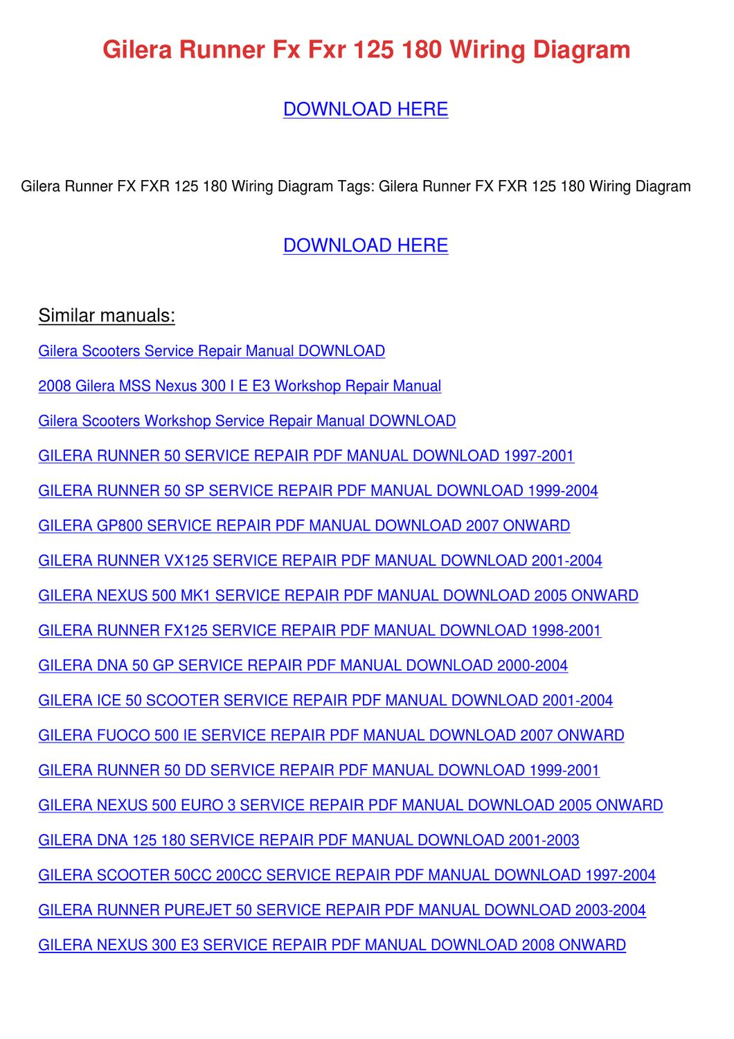 Gilera Runner Fx Fxr 125 180 Wiring Diagram By