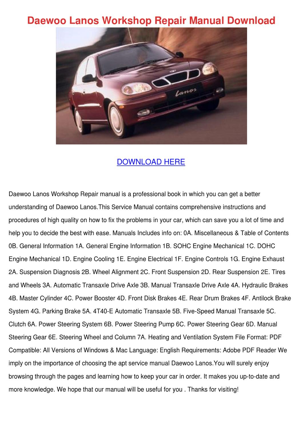Daewoo Lanos Cylinder Diagram Trusted Wiring Diagrams Engine Workshop Repair Manual Download By Dannycalkins Issuu Sedan
