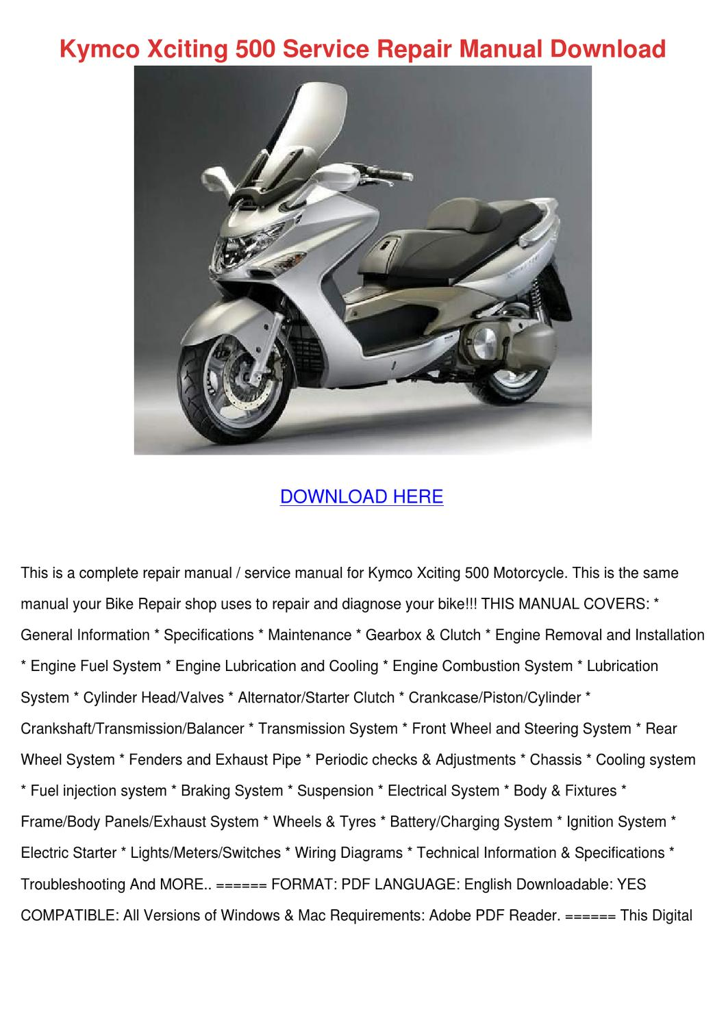 Kymco Xciting 500 Service Repair Manual Downl By Aliciawaggoner Issuu 2008 Wiring Diagram