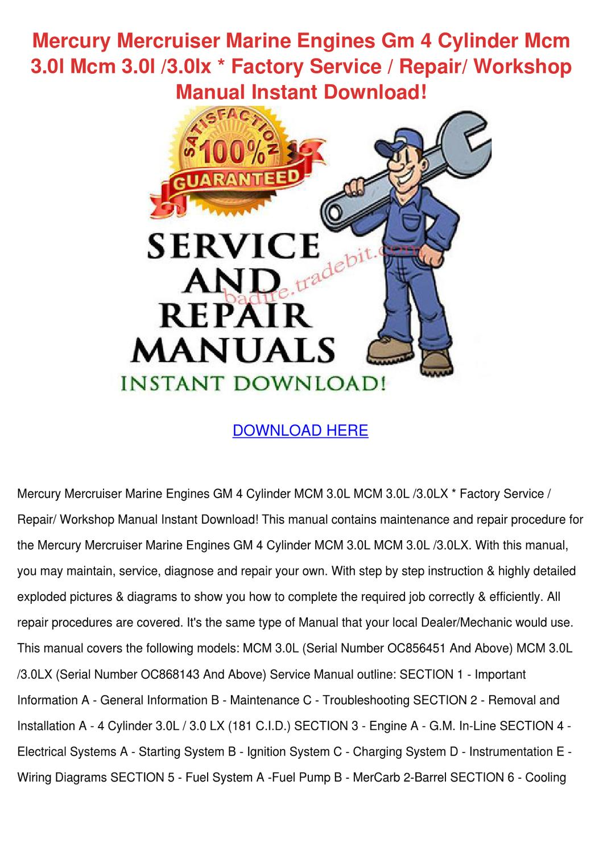 Mercruiser 3 0lx Service Manual