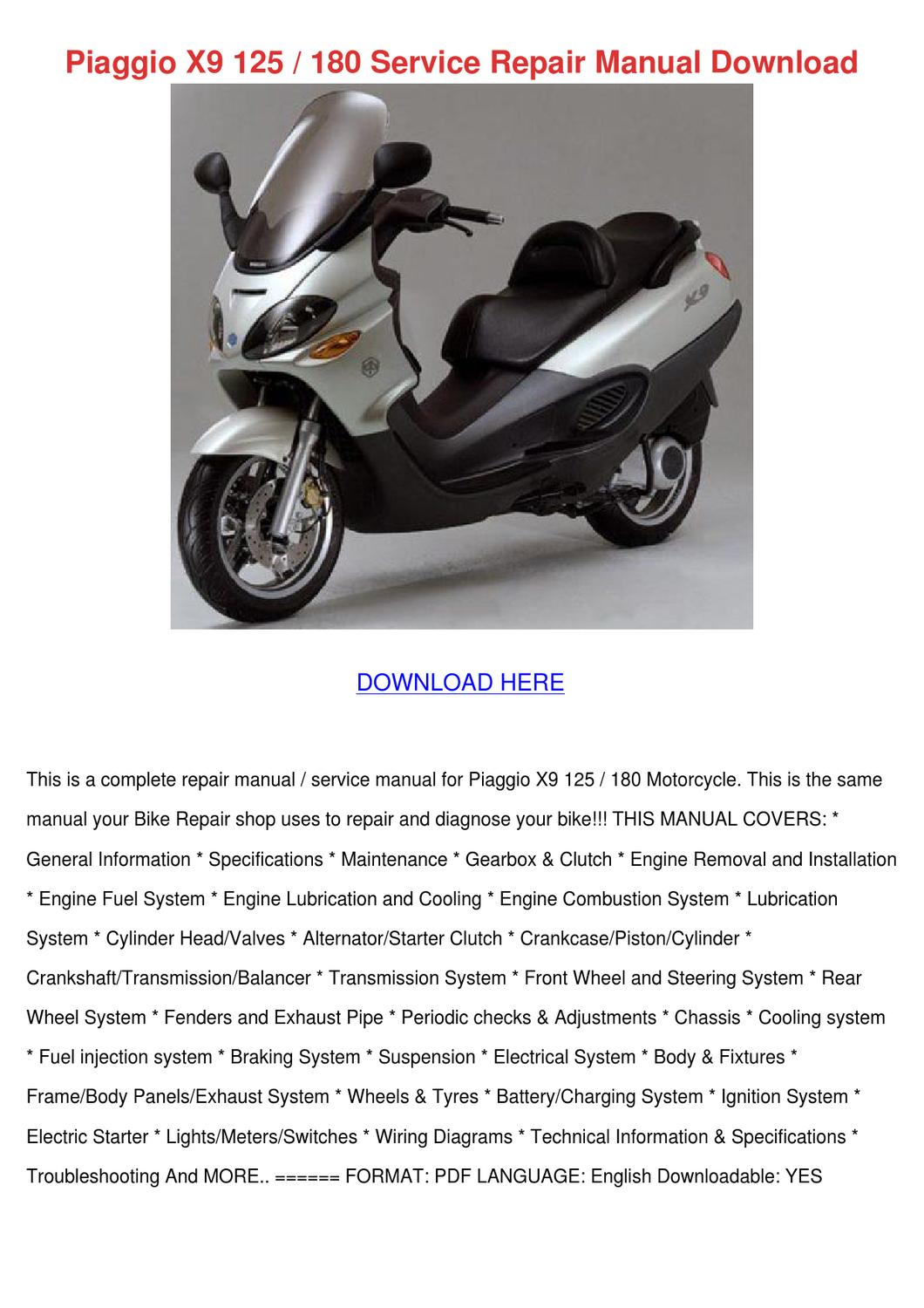 page_1 piaggio x9 125 180 service repair manual down by russraines issuu piaggio x9 500 wiring diagram at pacquiaovsvargaslive.co