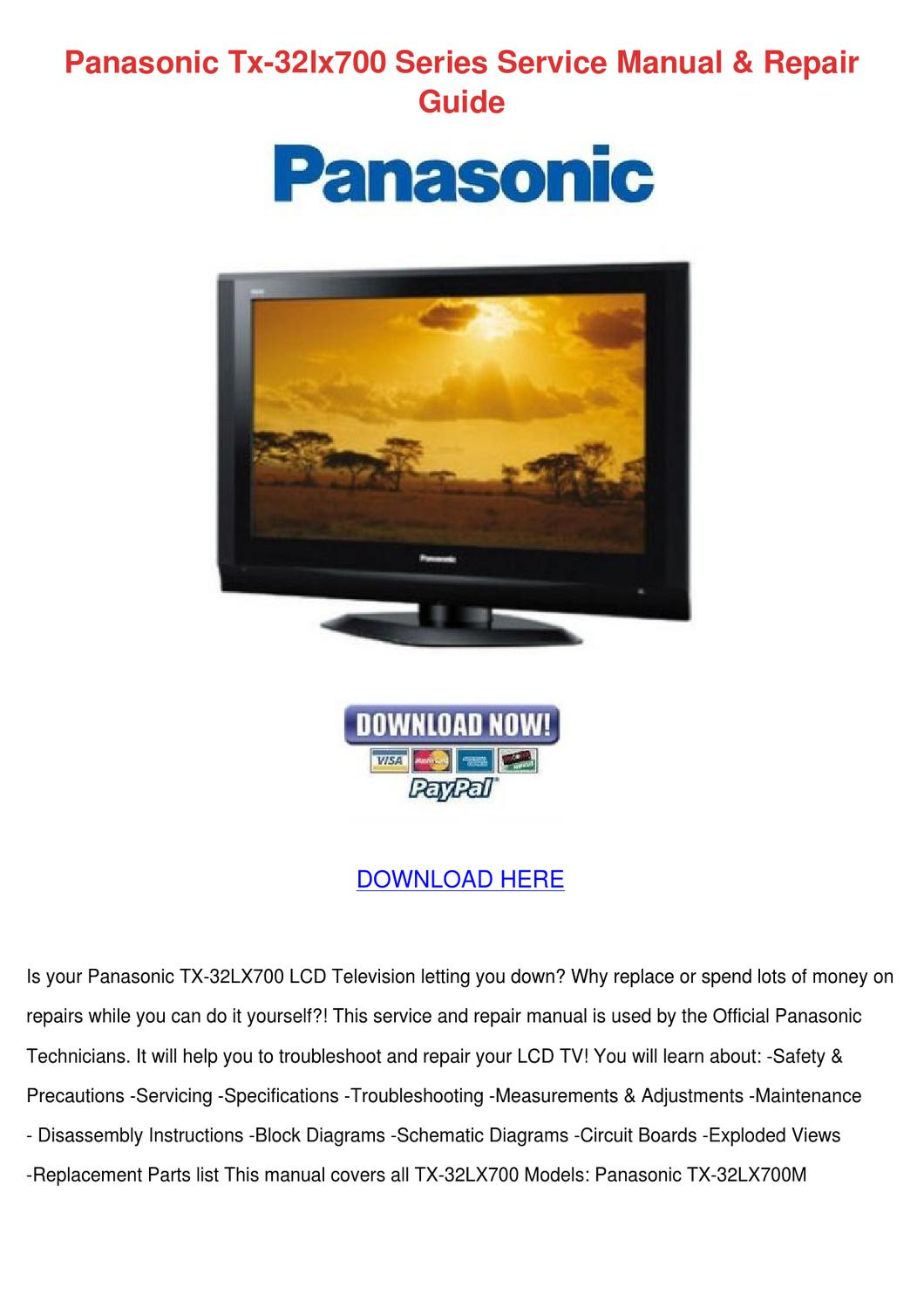Panasonic Tx 32lx700 Series Service Manual Re By Lesliekim Issuu Tv Circuit Board Repair