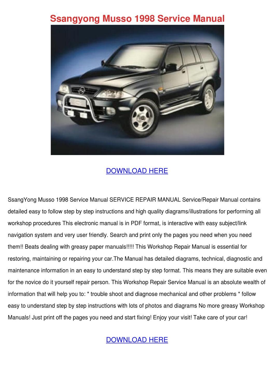 ssangyong kyron workshop manual pdf