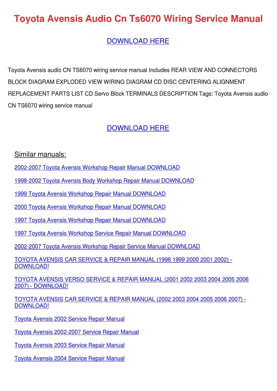 toyota avensis full service repair manual 2002 2007