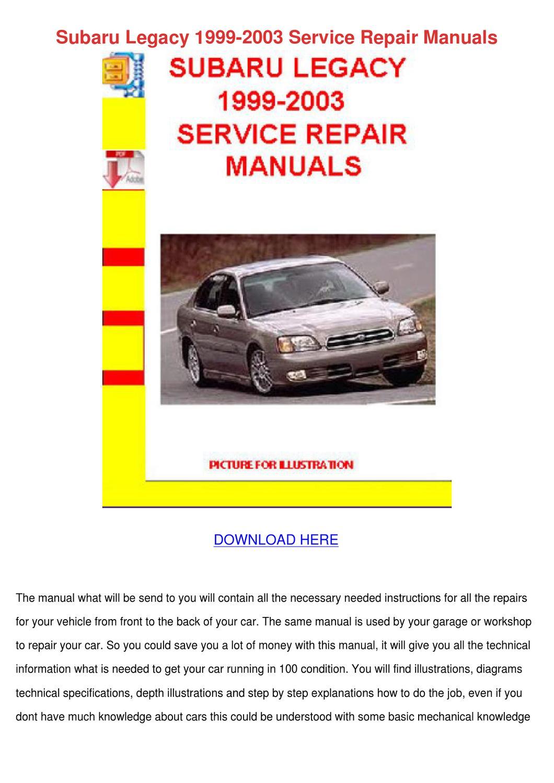 subaru legacy 1999 2003 service repair manual by. Black Bedroom Furniture Sets. Home Design Ideas