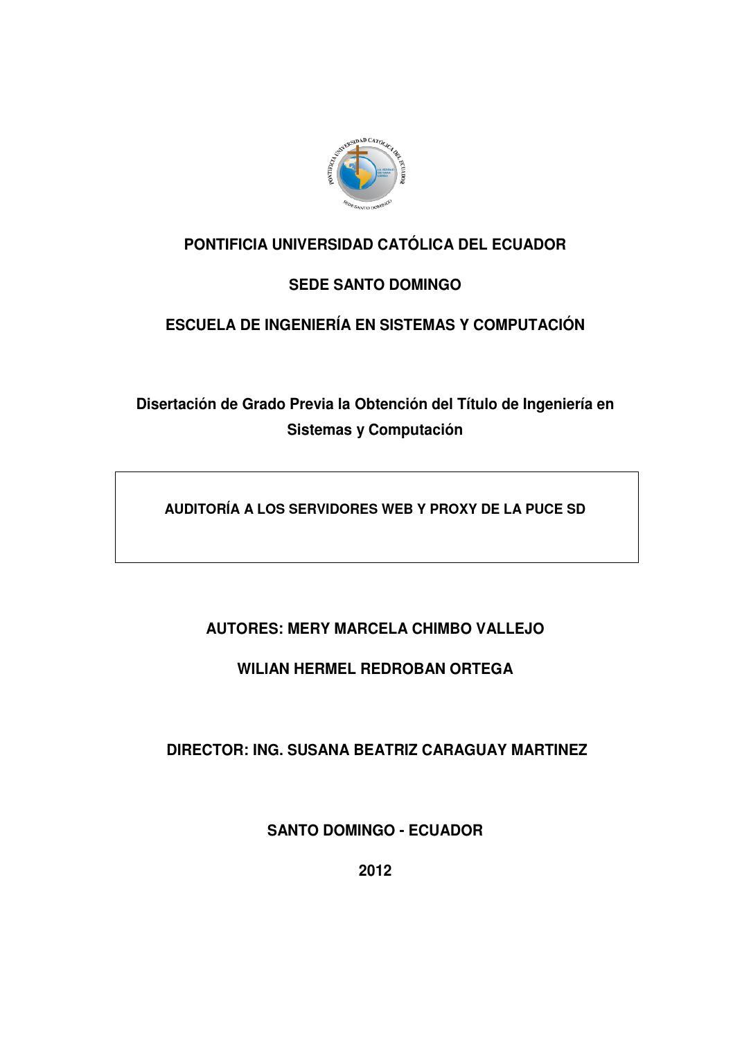 Auditoría a los servidores Web y Proxy de la PUCE SD by Pontificia ...