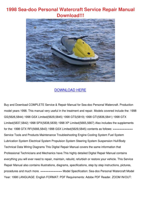 1998 Sea Doo Personal Watercraft Service Repa by RustyReeve - issuu