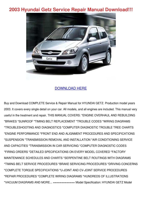 2003 Hyundai Getz Service Repair Manual Downl By