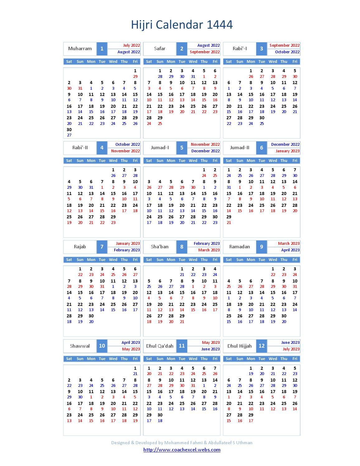 Islamic Calendar 2022.Hijri Calendar1444 By International Moon Calendar Issuu