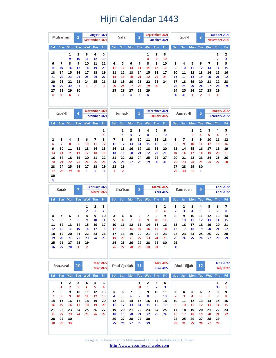 Arabic Calendar 2022.Hijri Calendar1443 By International Moon Calendar Issuu