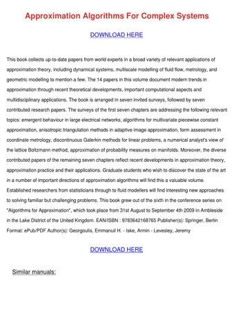 approximation algorithms for complex systems iske armin levesley jeremy georgoulis emmanuil h