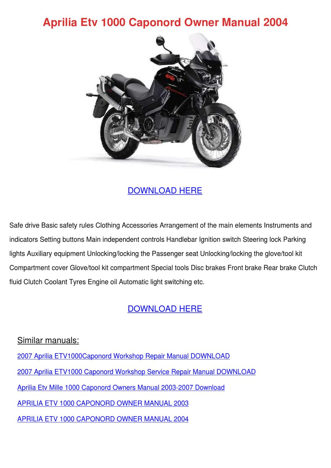 Aprilia Etv 1000 Caponord Owner Manual 2004 By Rustyreeve Issuu