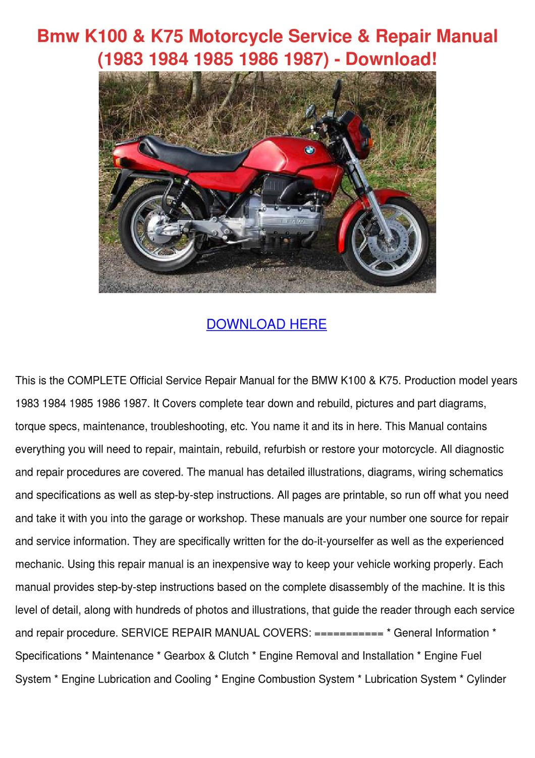 bmw k100 k75 motorcycle service repair manual by. Black Bedroom Furniture Sets. Home Design Ideas