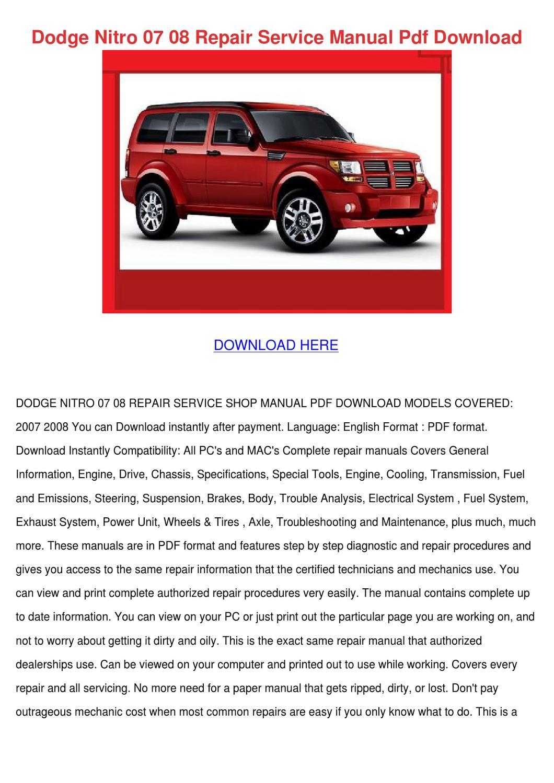 Dodge Nitro 07 08 Repair Service Manual Pdf D by AhmadValle - issuu