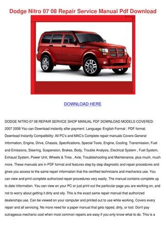 dodge nitro 07 08 repair service manual pdf d by ahmadvalle issuu rh issuu com 08 Dodge Nitro Interior 08 dodge nitro owner's manual
