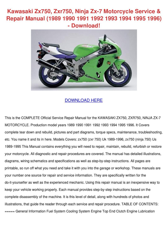 Kawasaki Zx750 Zxr750 Ninja Zx 7 Motorcycle S By