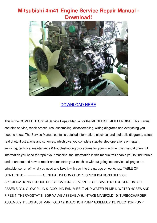 mitsubishi 4m41 engine service repair manual by ... mitsubishi 4m41 wiring diagram