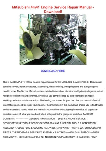 Mitsubishi 4m41 Engine Service Repair Manual by CharlotteBarrows - issuu