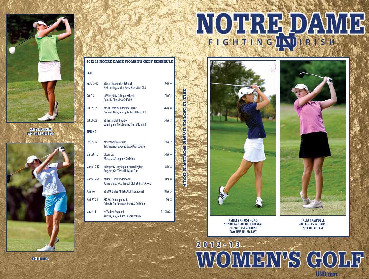 2012 13 notre dame women u0027s golf media guide by chris masters issuu