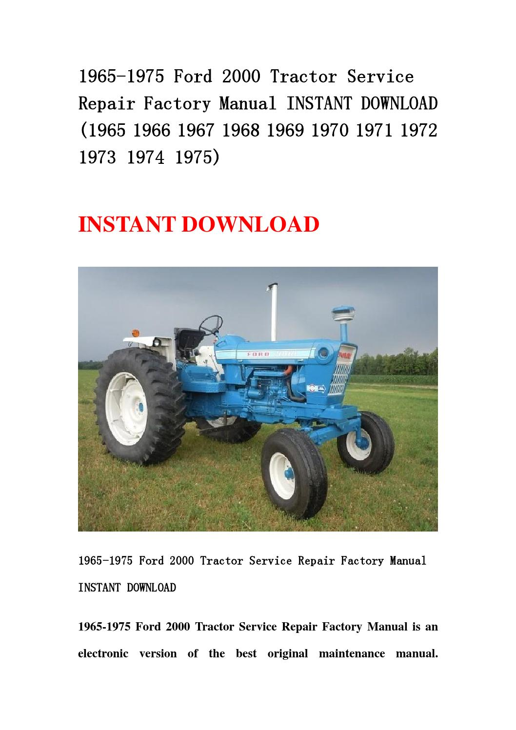 1969 Ford 3000 Tractor Steering Part Numbers : Ford tractor service repair factory manual