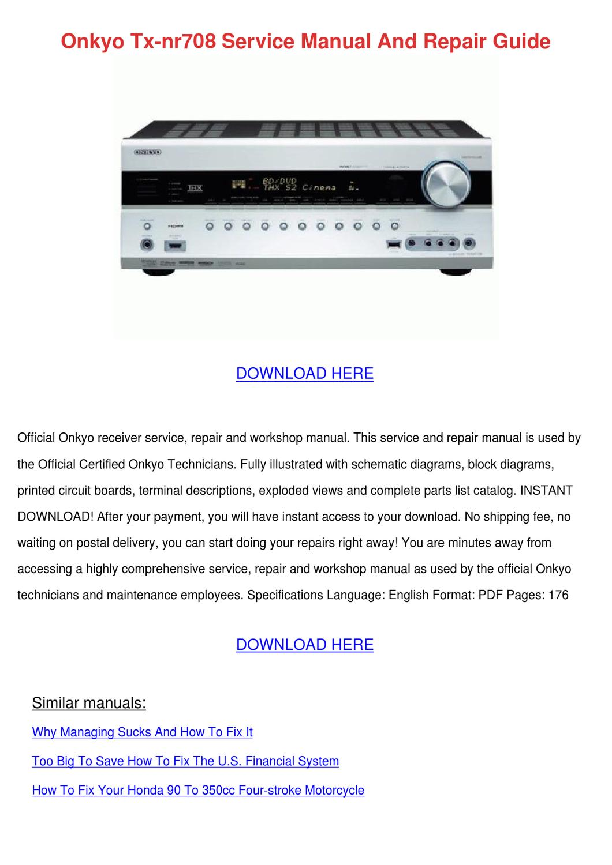 Onkyo Tx Nr708 Service Manual And Repair Guid by WillardThao - issuu