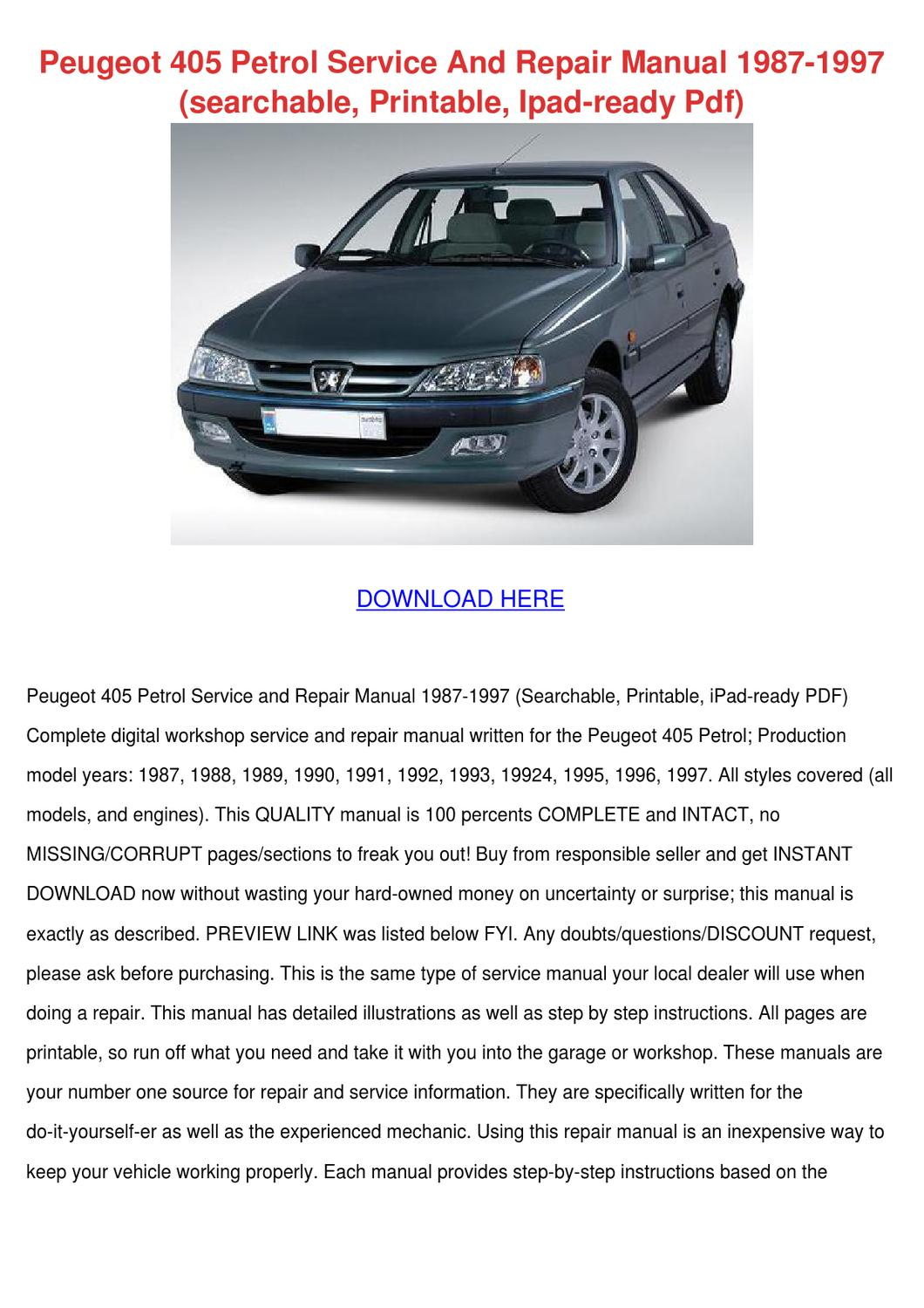 Peugeot 405 Petrol Service And Repair Manual By Willardthao Issuu Trekker Wiring Loom