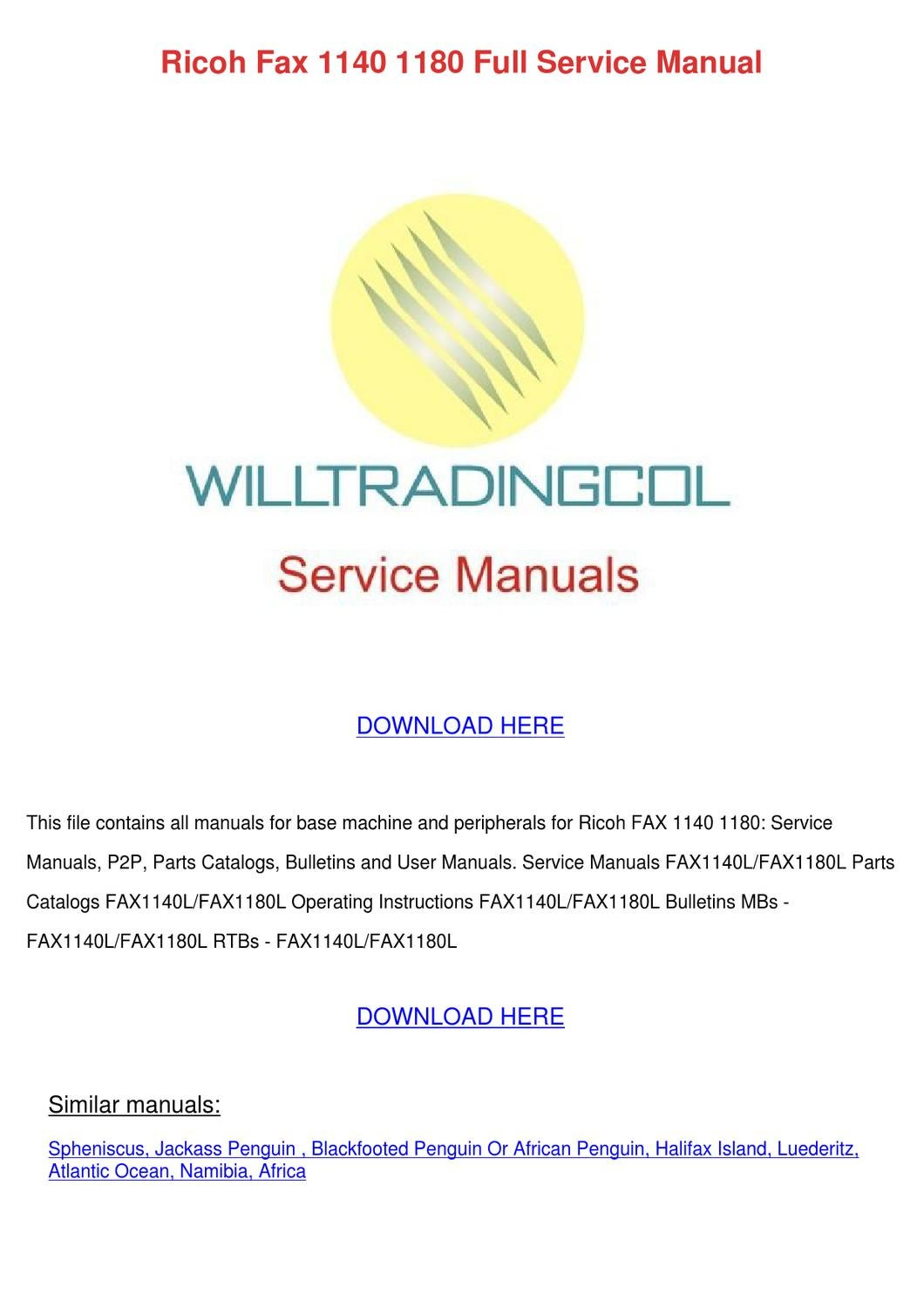 Ricoh Fax 1140 1180 Full Service Manual By Willardthao
