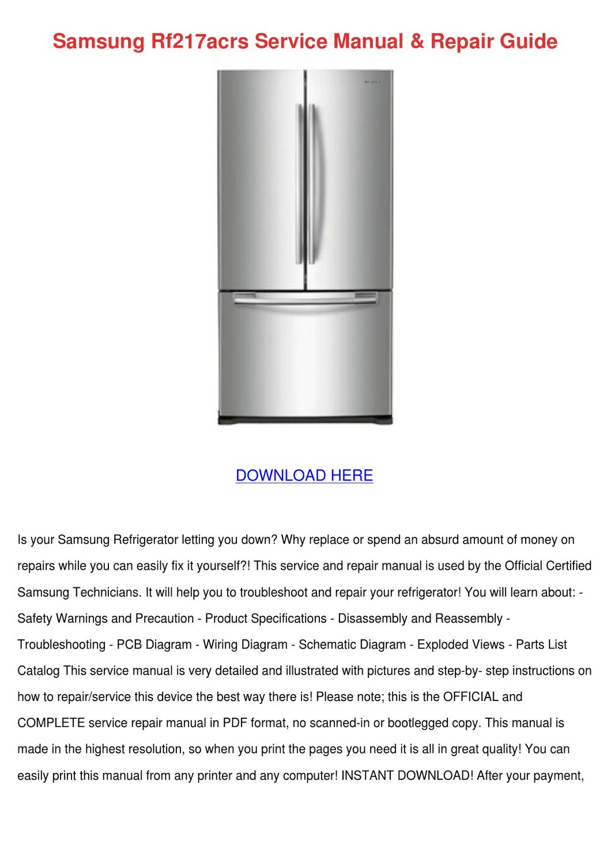 Samsung Rf217acrs Service Manual Repair Guide by WillardThao - Issuu