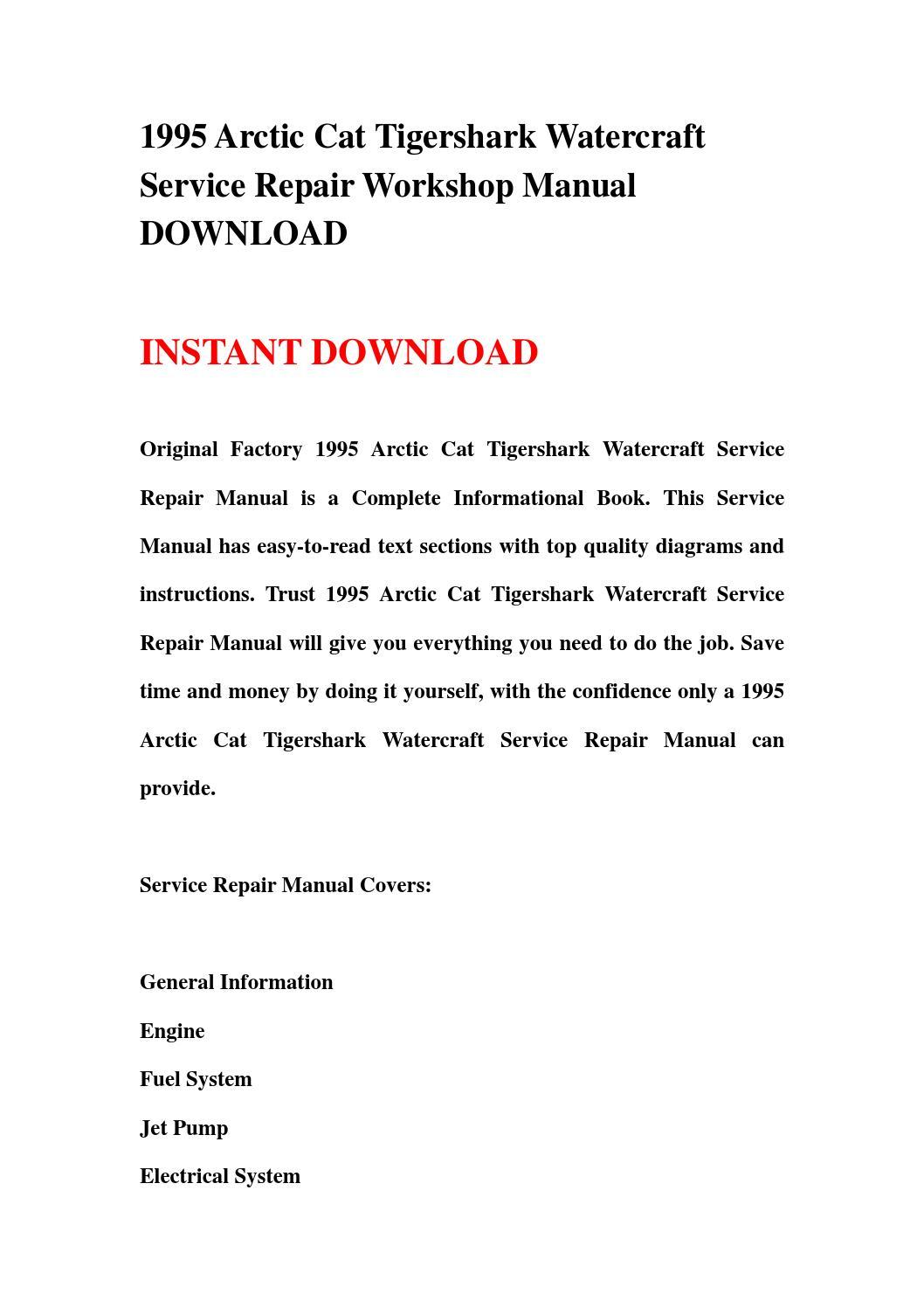 1995 arctic cat tigershark watercraft service repair workshop manual  download by nihuai - issuu