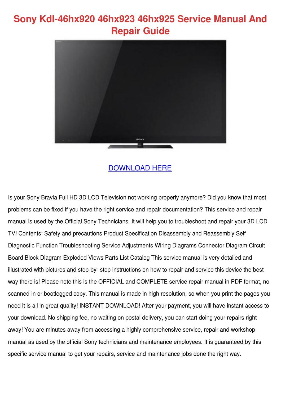 Sony Kdl 46hx920 46hx923 46hx925 Service Manu by WillardThao - issuu