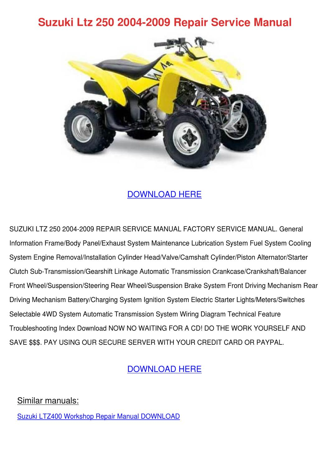 Suzuki Ltz 250 2004 2009 Repair Service Manua By Willardthao Issuu 400 4x4 Wiring Diagram