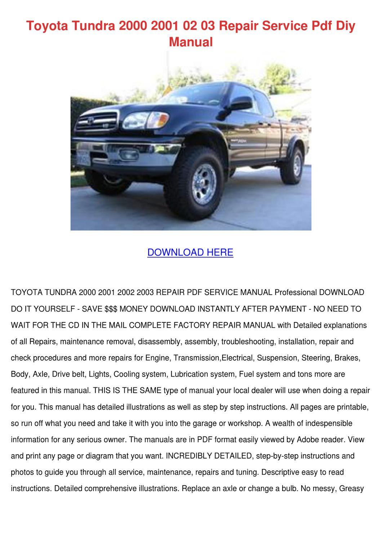 02 Toyota Tundra Repair Manual