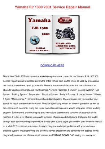 yamaha fjr1300 fjr1300n 2003 repair service manual