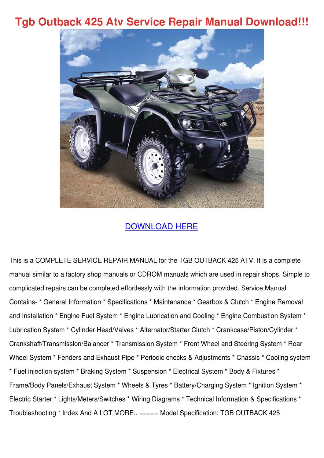 page_1 tgb outback 425 atv service repair manual dow by gretchenfelder tgb 101s wiring diagram at fashall.co