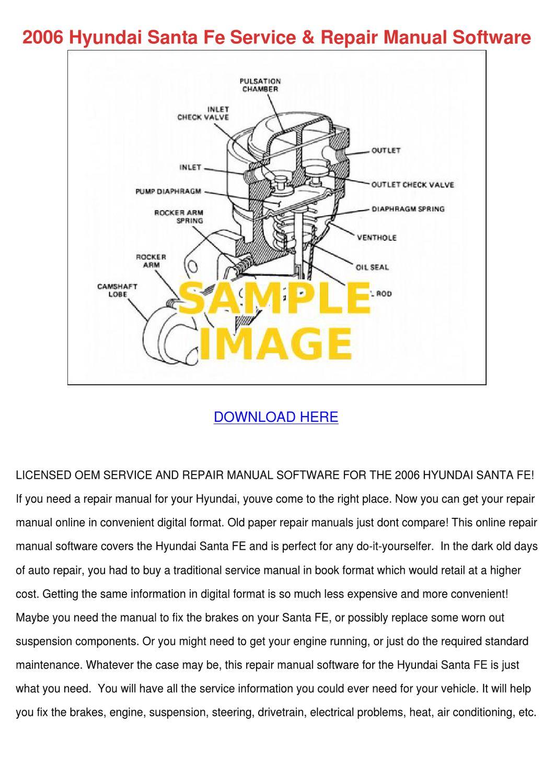 2006 Hyundai Santa Fe Service Repair Manual S By
