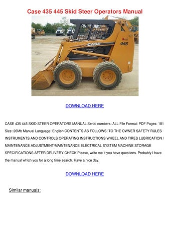Case 435 445 Skid Steer Operators Manual