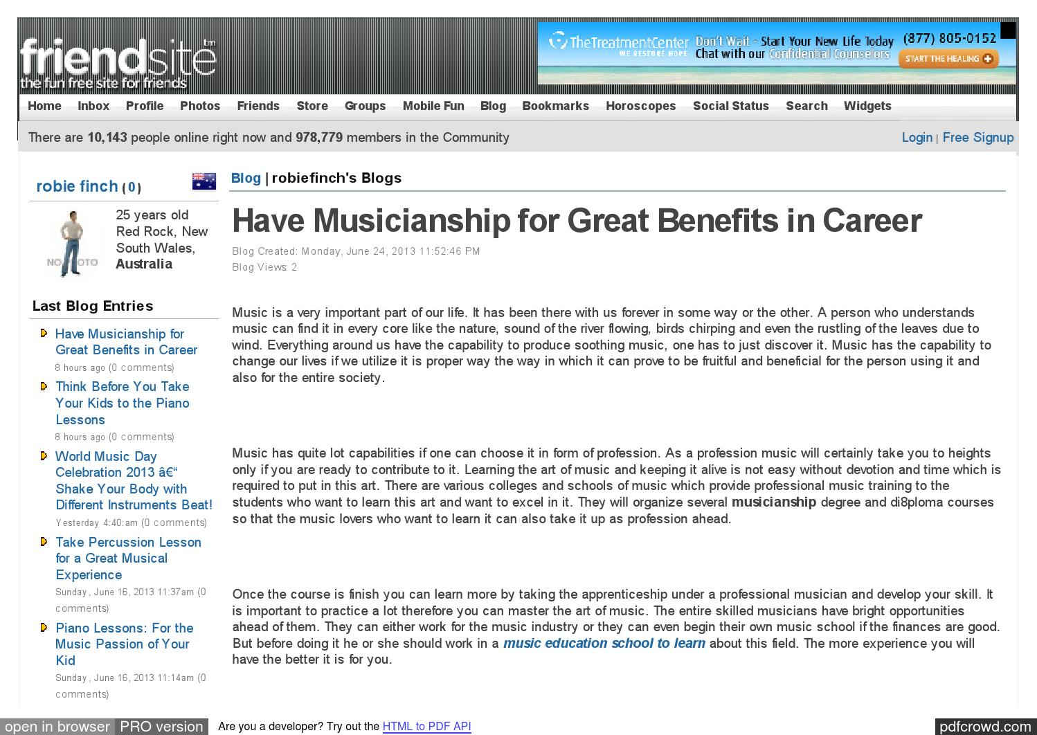 Have musicianship for great benefits in career by robie