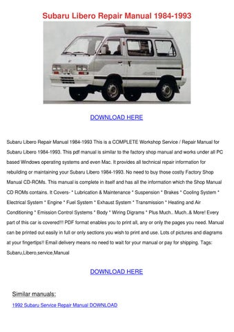 Subaru Libero Repair Manual 1984 1993 By Margaritaholloway Issuu