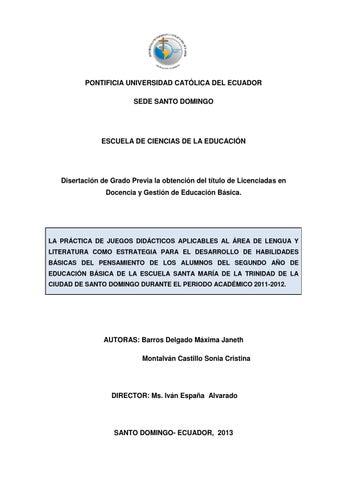 Práctica de juegos didácticos en el área de lengua y literatura, Esc ...